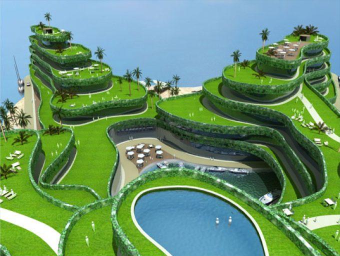 Construction d'une île artificielle